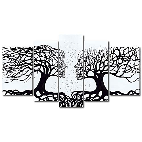 (Wieco Art Wind Floating Tree 5 Panels Abstract People Oil Paintings on Canvas Wall Art Ready to Hang for Bedroom Home Decorations Modern Contemporary 100% Hand Painted Stretched and Framed Artwork)