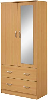 Hodedah 72 Inch 2-Drawer Armoire with Mirror (HI882 Beech)