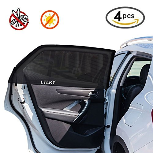 - 4 Pack Car Window Shades for Baby & Pets, Front and Rear Side Car Sun Shades, Block Harmful UV, Anti-Mosquito, Universal Fit!