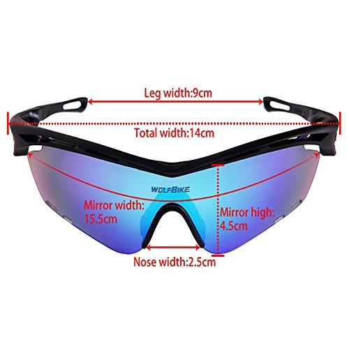Jian Ya NA Outdoor Sports d'équitation Rapid Eyewear Lunettes UV Lunettes de Soleil Impact Verres windundurchlässige Verres, noir