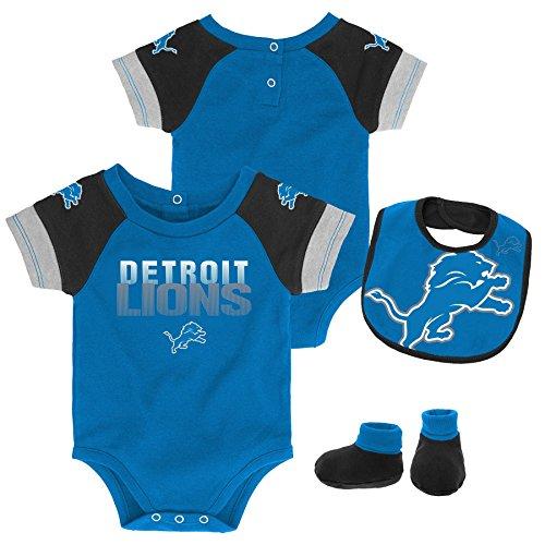 (NFL by Outerstuff NFL Detroit Lions Newborn & Infant 50 Yard Dash Bodysuit, Bib & Bootie Set Crimson, 12 Months)