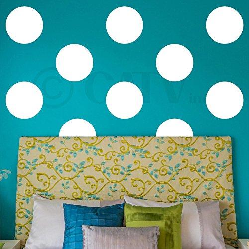 Polka Dot Circles vinyl wall pattern decals (12x12 set of 10, - White Set Decal