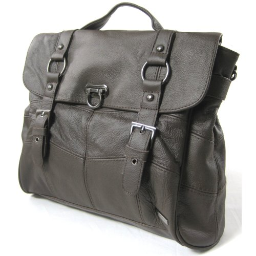 Damen-Ledertasche / Handtasche mit abnehmbarem Schulterriemen (Braun)