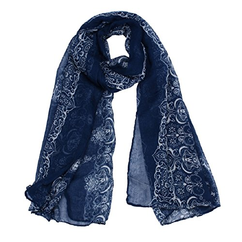 lookatool Womens Muslim Long Cotton Shawl Scarf Tassel Scarves Stole Wrap (Navy) ()