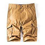 iZHH Men's Pure Color Outdoors Pocket Beach Work Trouser Cargo Shorts Pant(Khaki,38)