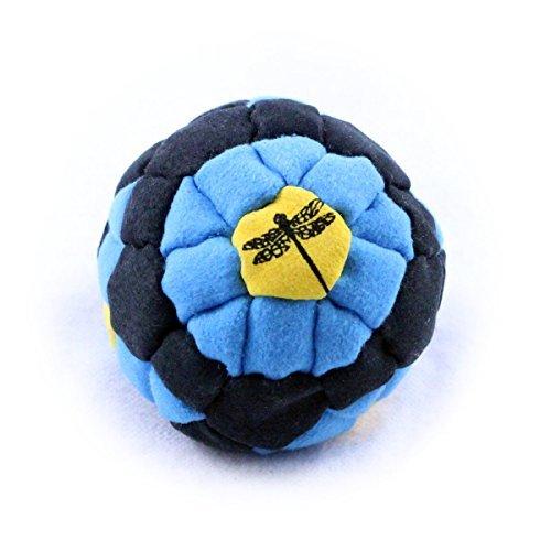 Dragonfly Footbags Blue, Black, Yellow Bullseye 62 Panel (Hacky Sack) ()
