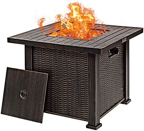 Giantex 30 Gas Fire Table 50,000 BTU Square Propane Fire Pit Table with Lid and Lava Rocks CSA and ETL Certification Brown