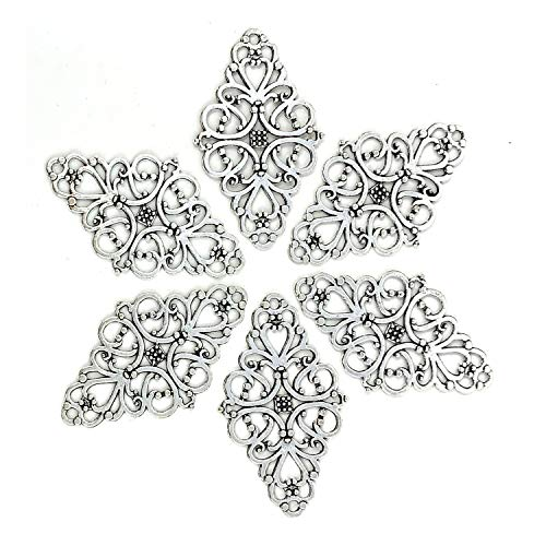 Filigree Flower Plate Charms, JIALEEY 40pcs Hollowed-Out Rhombic Pendant Connector for DIY Jewelry Making Wrapping Accessories(Silver Tone) - Filigree Charm Flower