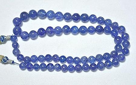 Cuentas redondas de tanzanita de 7 mm a 9,5 mm, redondas lisas de tanzanita, collar de tanzanita, piedra preciosa para joyería de 22,86 cm