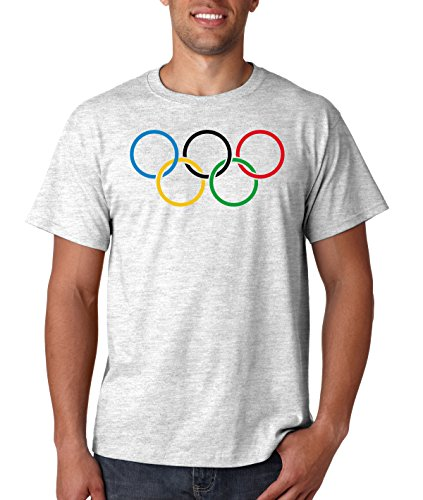 Olympic Rings Logo T Shirt Vintage Retro Style Track Swim Ski USA Sports Short Sleve Tee (5XL, Ash Grey)