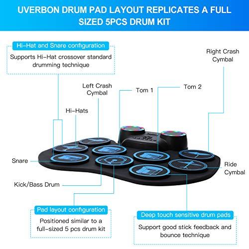 Batterie Électronique Drum Set 9 Pads Batterie Électrique, Haut-Parleur Stéréo Intégré Bluetooth, MIDI, Roll Up Tambour pour Enfant Adulte Noël Anniversaire - Uverbon