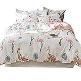 BHUSB Girls Flamingo Print Queen Duvet Cover Set Soft Cotton Bedding Sets (3pcs,Full/Queen) Reversible Bedding Collection Zipper Closure,4 Corner Ties