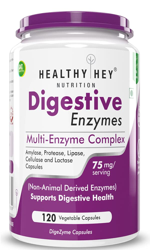 Healthy Hey Nutrition Digestive Enzyme - Multi-Enzyme Complex - 75mg - Support Digestive Health - 120 Vegetable Capsules