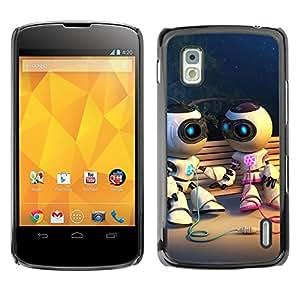 LECELL -- Funda protectora / Cubierta / Piel For LG Google Nexus 4 E960 -- Funny Cute Robot Couple --