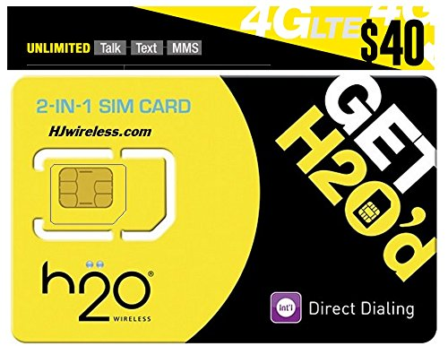 H2O H20 Wireless Micro / Mini SIM Card for any Unlocked GSM Phone w/ $40 Airtime (H2o Wireless Airtime)