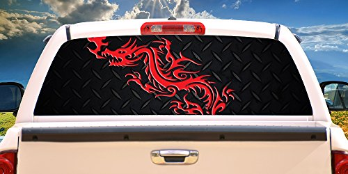 SignMission RED DRAGONRear Window Graphic Back Truck Decal SUV View Thru Fresh Bagels 24