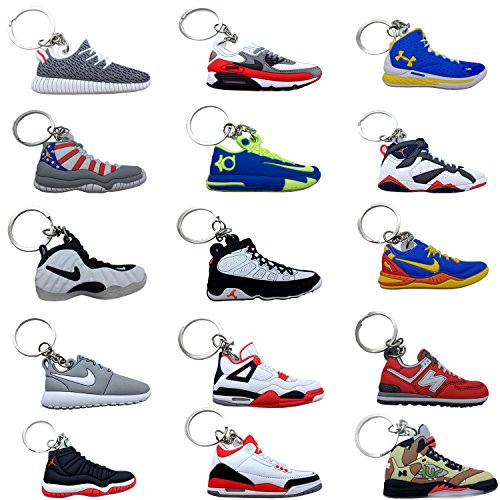 (#AJ15Pack) Jordan Basketball Sneakers Keychain Ringkey Collection Value - Keychain Sunglasses
