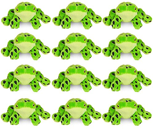 Wildlife Tree 3.5 Inch Green Poison Dart Frog Mini Small Stuffed Animals Bulk Bundle of Zoo Animal Toys or Jungle Safari Party Favors for Kids Pack of (Poison Tree Frog)