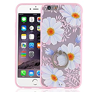 iPhone 6 Plus Case Floral,Bernect 3D Relief Sculpture Floral Print Slim Soft TPU Frame Hard PC Back Case Cover With 360 Rotating Finger Ring Stand Holder for iPhone 6 Plus/6s Plus (5.5 inch)-Pink