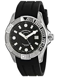 Stuhrling Original Men's 718.02 Aquadiver Regatta Manta Ray Swiss Quartz Professional Diver Black Dial Rubber Strap Date Watch