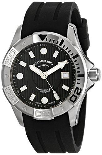 Stuhrling Original Men's 718.02 Aquadiver Manta Ray Swiss Quartz Date Professional Diver Black Dial Watch