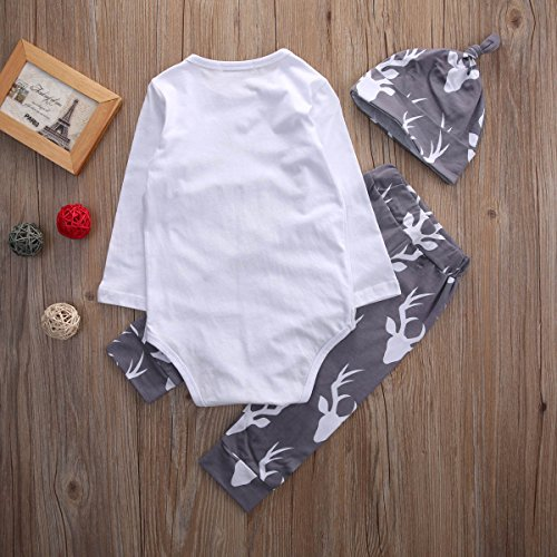 Baby Boys Daddy's Little Man Long Sleeve Bodysuit and Deer Pants Outfit with Hat (80(6-9M), White+grey)
