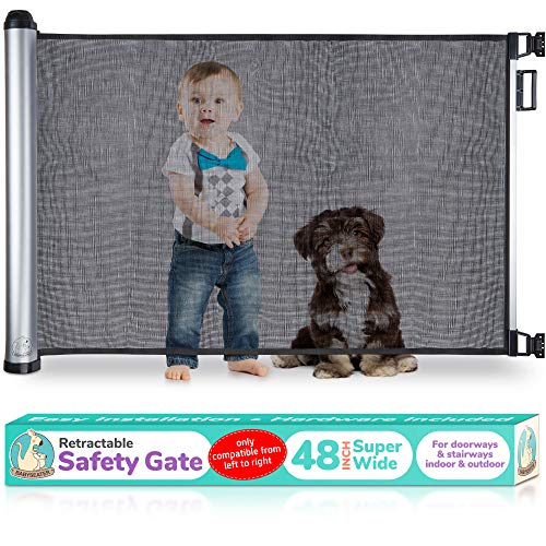 2019 New Retractable Baby Gate - Extra Wide Baby Safety Gate and Pet Gate for Stairs, Doors, and More - Mesh Baby Gate with Easy Latch and Flexible Design Fits Most Spaces