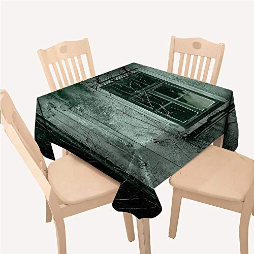 WilliamsDecor Horror House Decor Non Slip Tablecloth View of a Dramatic Haunted House Creepy Environment Mystery Rear Window ThemeGray Small Square Tablecloth W36 xL36 inch