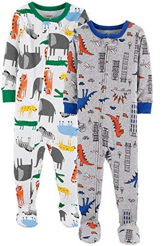 Carter's Baby Boys' 2-Pack Cotton Footed Pajamas (18 Months, Animals/Dino) ()