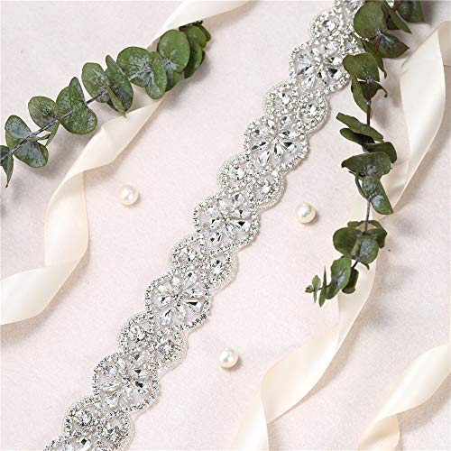 Wedding Bridal Sash Belt Rhinestone Applique Decorate with Shiny Clear Rhinestones on Hot Fix for Wedding Evening Dress Sashes Decorations Fashion DIY -1 Piece (Silver011)