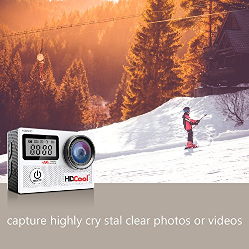 HDCOOL Action Camera 20MP 4K WiFi Waterproof Sports Cam 170° Ultra Wide-Angle Lens with 2 Rechargeable Batteries and Mounting Accessories Kits