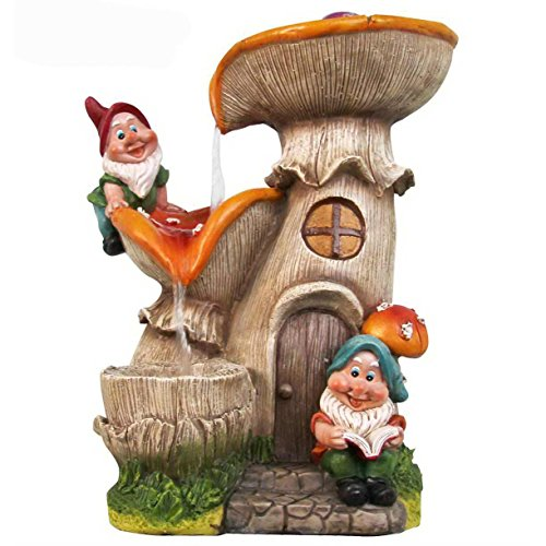 Two Gnomes Mushroom House Sculptural Fountain Made w/ Resin In Multi Color 12.91'' H x 10.16'' W x 9.72'' D by Sintechno Inc