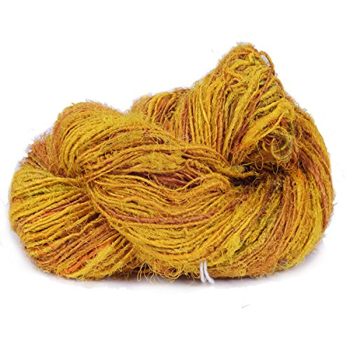 White House Silk Super Soft Premium Quality Yellow/Gold Sari Silk Yarn, Beautiful Handspun Sari Silk Yarn For Gift, Knitting, Crocheting, Weaving, 100 Yards In 100 Grams, 1 Skein