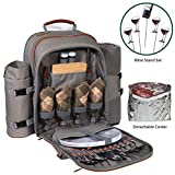 Picnic Backpack Set for 2 to 4 with Blanket, Wine Stand & Glasses, Cutlery, Dinnerware, Detachable Insulated Waterproof Compartment Pouch in The Cooler, Picnic Basket for Family by Frux Home & Yard