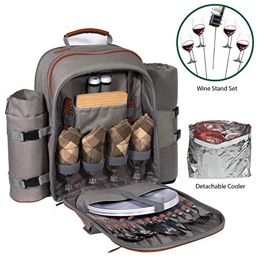 Picnic Backpack Set for 2 to 4 With Blanket, Wine Stand & Glasses, Cutlery, Dinnerware, Detachable Insulated Waterproof Compartment Pouch In The Cooler, Great Picnic Basket For Family Outdoor ()