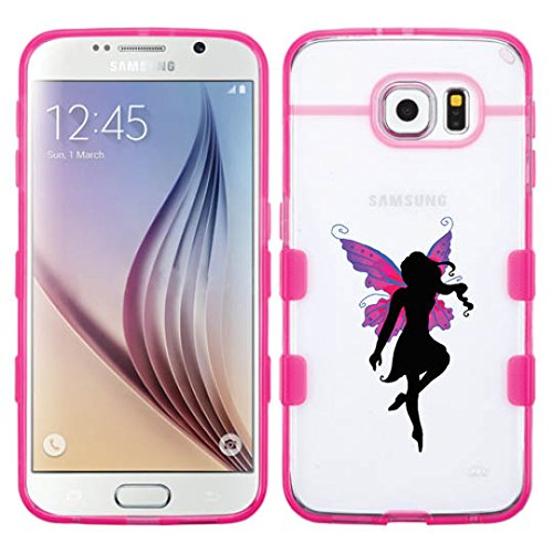 Samsung Galaxy S6 EDGE Butterfly Fairy Glassy Transparent Clear Gummy Cover (Transparent/Pink)