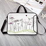 """Nature Printing Neoprene Laptop Bag,Flowerbed with Cute Spring Chamomiles Hand Drawn Girls Ladybug Print Laptop Bag for 10 Inch to 17 Inch Laptop,17.3""""L x 13""""W x 0.8""""H"""