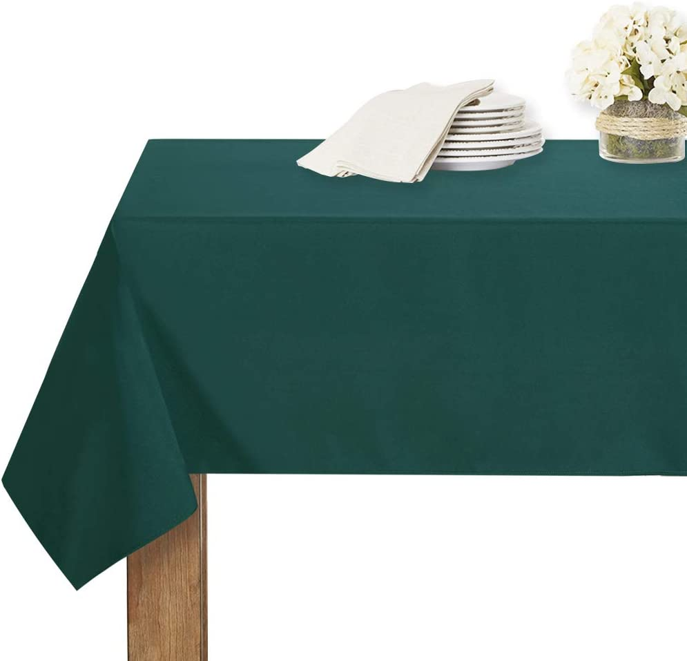RYB HOME Table Cloth Rectangle - Spill-Proof Wrinkle Free Washable Polyester Christmas Decor Tablecloth for Dining Buffet Party Banquet Outdoor Picnic, 54 x 70, Hunter Green