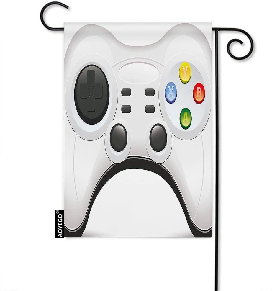 AOYEGO Game Controller Garden Flag Video Game Cartoon Button Game Pad Computer Competition Electronic Garden Flag for Outside Decoration Seasonal Durable 12X18 Inch Cotton Linen
