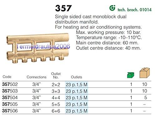 Caleffi 357502 Collettore complanare fuso monolaterale 3//4/'/' 2+2