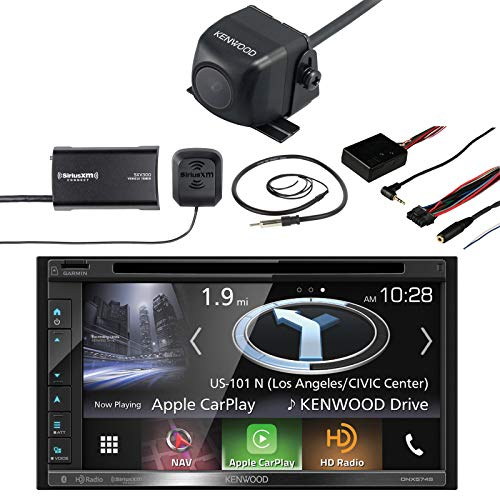 "Kenwood Double DIN Navigation In-Dash DVD/CD/AM/FM Car Stereo w/ 6.8"" Touch Screen, Kenwood Backup Camera, SiriusXM Satellite Radio Connect Vehicle Tuner Kit, Steering Wheel Control Interface, Antenna"