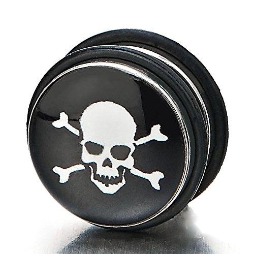 11MM Magnétiques Noir Cercle Crâne Fake Piercing - Boucles d'oreilles Homme - Bouchon d'oreille Faux Cheater