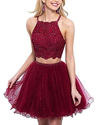 Women's Tulle Short Two Pieces Prom Gowns Sequins Homecoming Dresses