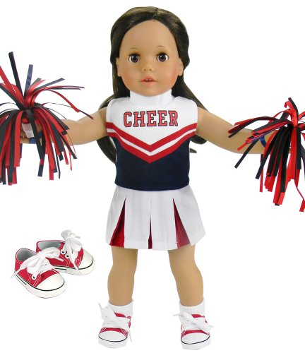 18 Inch Doll Cheerleading Set 4 Pc. Set by Sophia's, Fits 18 Inch American Girl Doll Clothes & More! Pom Poms, 4 Piece Red & Navy Cheer Outfit & Doll Sneaker Shoes Red/Navy