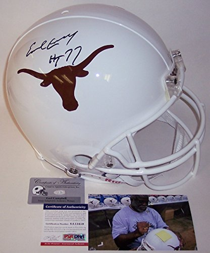 Earl Campbell Autographed Hand Signed Texas Longhorns Full Size Authentic Football Helmet - with HT 77 Inscription - - Texas Helmet Football Authentic Longhorns
