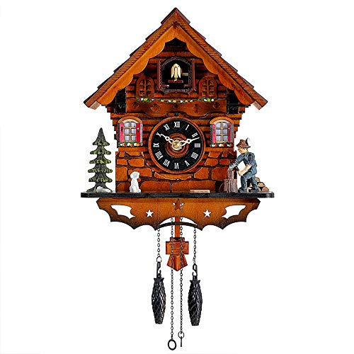 Kintrot Cuckoo Clock Traditional Black Forest Clock Antique Wooden Pendulum Quartz Wall Clock