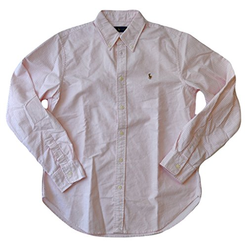 Polo Ralph Lauren Women's Classic Fit Oxford Button Down Shirt, BSR Pink/White, M ()