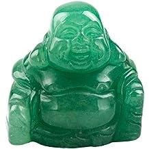 "SUNYIK Green Aventurine Hand Carved Happy Buddha Statue Pocket Specimen Sphere Figurine Decor 1.5"""