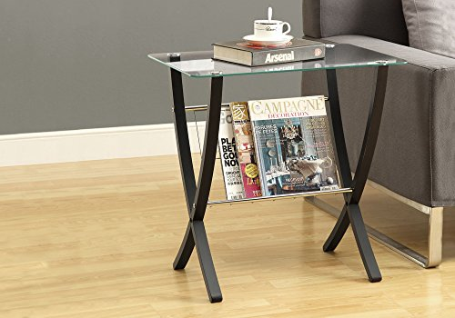 Monarch Specialties I I 3021 Bentwood Magazine Table with Tempered Glass, - Magazine Cappuccino Rack