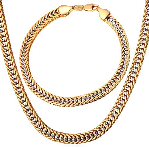 Link Two Gold Tone Chain - U7 Men Curb Chain Two Tone Gold Jewelry Set 6MM Wide Platinum & 18K Gold Plated Franco Cuban Chain Necklace Bracelet (22